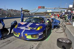 Pit stop for #99 JMB Racing Ferrari F430 GT: Ben Aucott, Pierre Kaffer
