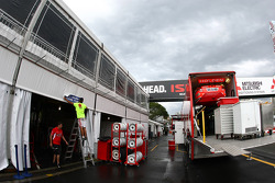Toll Holden Racing Team transporter in the process of unloading
