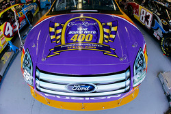 Jamie McMurray's Crown Royal Ford sits in the garage