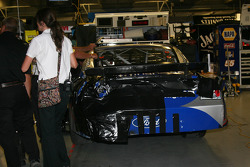 David Gilliland pulls his #38 CitiFinancial Ford into the garage after NASCAR penalizes him for wrecking Juan Pablo Montoya