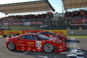 Gianmaria Bruni in the Risi Competitione Ferrari F430 and Toni Vilander in the AF Corse Ferrari F430