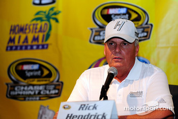 Rick Hendrick, owner of Jimmie Johnson's No. 48 Lowe's Chevrolet, talks to the media about Johnson's chances for a third straight championship