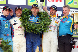 Podium: race winner Alain Menu, second place Andy Priaulx, third place and WTCC 2008 champion Yvan Muller, and Sergio Hernandez