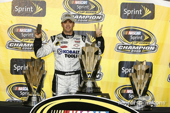 Championship victory lane: 2008 NASCAR Sprint Cup Series champion Jimmie Johnson