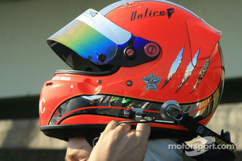 Max Chilton puts on his helmet
