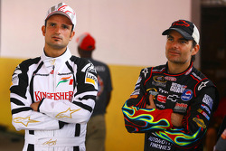 Vitantonio Liuzzi, Test Driver, Force India F1 Team and Jeff Gordon, NASCAR driver