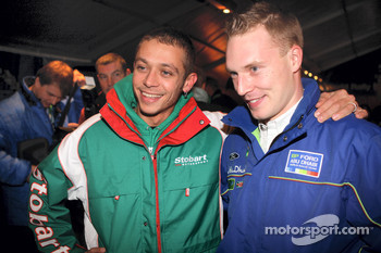 Jari-Matti Latvala hooks up with World Moto GP Champion Valentino Rossi