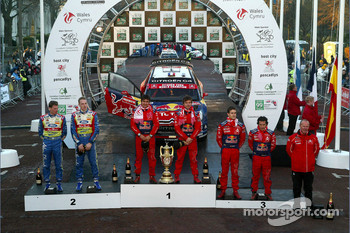 Podium: rally winners Sébastien Loeb and Daniel Elena, second place Jari-Matti Latvala and Miikka Anttila, third place Daniel Sordo and Marc Marti