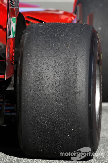 Rear Bridgestone tyres on a Scuderia Ferrari