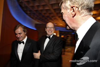 Former WRC champion Carlos Sainz, His Serene Highness Prince Albert of Monaco and FIA President Max Mosley