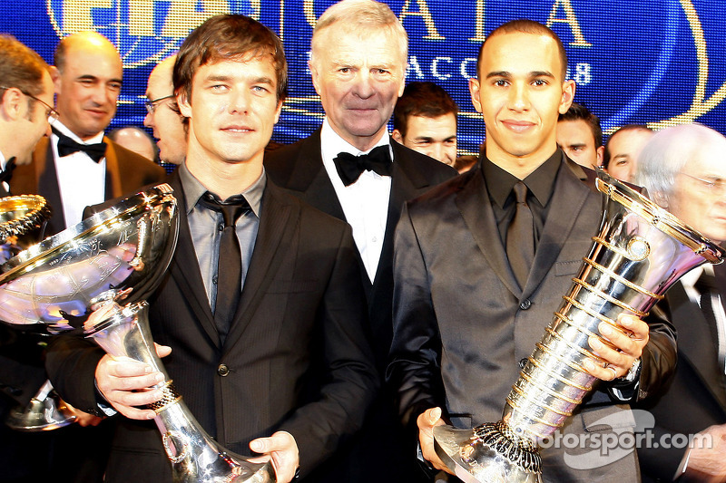 FIA World Rally champion Sébastien Loeb, FIA President Max Mosley and FIA Formula 1 World champion Lewis Hamilton