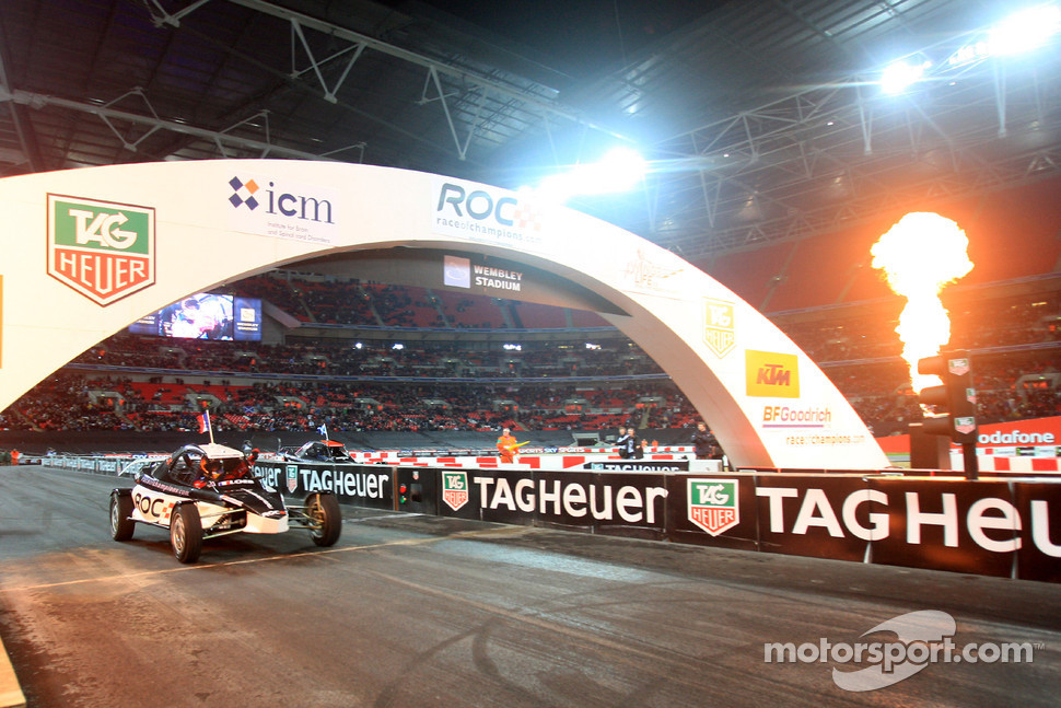 Final, race 3: Sbastien Loeb crosses the line to win the Race of Champions