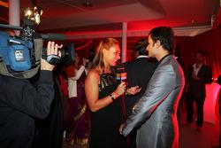 Tamara Ecclestone Sky TV Presenter with Vitantonio Liuzzi Force India F1 Third Driver at the Fly Kingfisher Boat Party