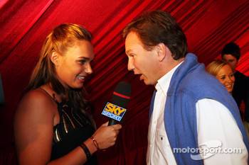 Tamara Ecclestone Sky Sport Television Presenter with Christian Horner Red Bull Racing Sporting Director at the Fly Kingfisher Boat Party