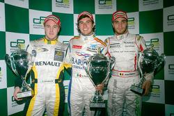Sergio Perez celebrates his victory with Davide Valsecchi and Jerome D'Ambrosio