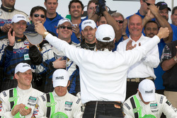 GT victory lane: Kevin Buckler celebrates with this team