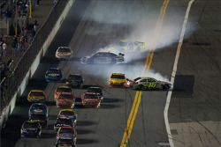 Paul Menard, Yates Racing Ford, collide with Dale Earnhardt Jr., Hendrick Motorsports Chevrolet, while Greg Biffle, Roush Fenway Racing Ford spins