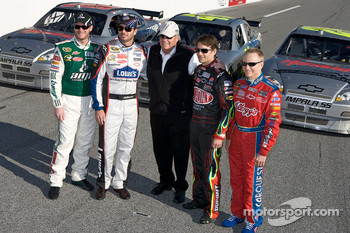 Hendrick Motorsports' 25th anniversary season car unveiling event: Dale Earnhardt Jr., Jimmie Johnson, Jeff Gordon and Mark Martin with Rick Hendrick