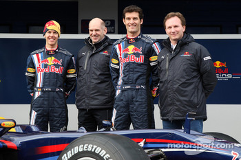 Sebastian Vettel, Red Bull Racing, Adrian Newey, Red Bull Racing, Technical Operations Director, Mark Webber, Red Bull Racing, Christian Horner, Red Bull Racing, Sporting Director
