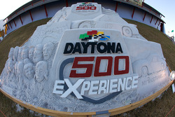 Champion's breakfast: the sand sculpture in front of Daytona 500 Experience suffered some minor damage from the rain fall