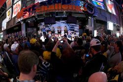 Champion's breakfast: 2009 Daytona 500 winner Matt Kenseth, Roush Fenway Racing Ford, Jack Roush, Roush Fenway Racing Ford owner, and crew chief Drew Blickensder for Matt Kenseth on stage