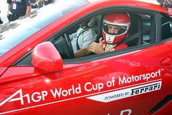 Felipe Massa driving the Ferrari 599 Safety car