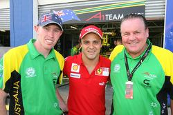 John Martin, driver of A1 Team Australia with Felipe Massa and  Alan Jones, Seat Holder of A1 Team Australia