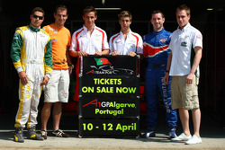 Felipe Guimaraes, driver of A1 Team Brazil, Jeroen Bleekemolen, driver of A1 Team Netherlands, Filipe Albuquerque, driver of A1 Team Portugal, Antonio Felix da Costa, driver of A1 Team Portugal, Danny Watts, driver of A1 Team Great Britain and Adam Carrol