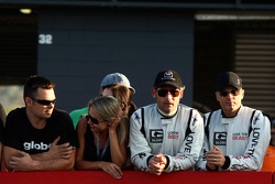 Eric Bana watches the action from pit wall