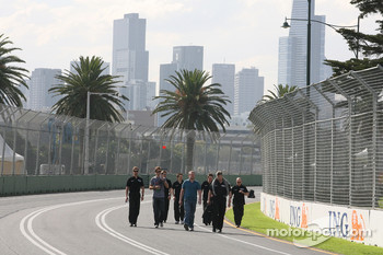 Jenson Button, Brawn GP and Ross Brawn Brawn Grand Prix Team Principal walk the circuit
