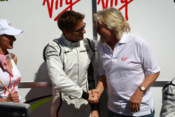 Jenson Button, Brawn GP with Sir Richard Branson CEO of the Virgin Group makes and announcement regarding the Virgin sponsorship deal with Brawn GP