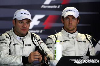 Post-qualifying press conference: pole winner Jenson Button, Brawn GP, second place Rubens Barrichello