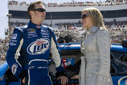 Kurt Busch talks with his wife Eva