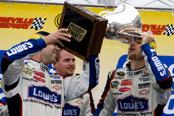 Victory lane: race winner Jimmie Johnson, Hendrick Motorsports Chevrolet, celebrates with crew chief Chad Knaus