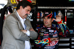 NASCAR President Mike Helton and Jeff Gordon, Hendrick Motorsports Chevrolet