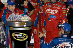 Victory lane: race winner Mark Martin, Hendrick Motorsports Chevrolet, is congratulated by Kurt Busch, Penske Racing Dodge