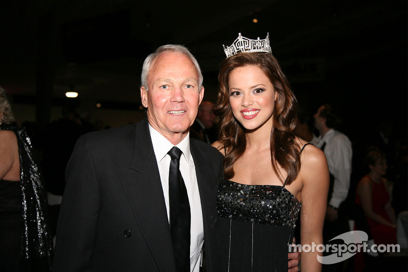 2009 Miss America winner Katie Stam of Indiana, and Stan Barrett, driver of the 3-wheeled Budweiser Rocket Car that attempted to break the sound barrier in 1979, were in attendance at the International Motorsports Hall of Fame induction ceremony
