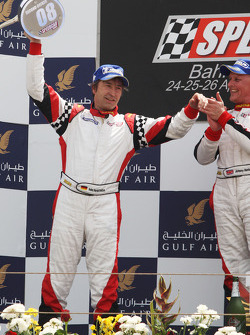Heinz-Harald Frentzen Team Lavaggi celebrates his second position on the podium