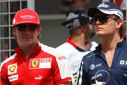 Kimi Raikkonen, Scuderia Ferrari and Nico Rosberg, Williams F1 Team