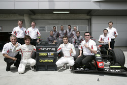 Kamui Kobayashi and Jerome D'Ambrosio celebrate first and second positions in the GP2 Asia Championship, Dams also collected the Team championship