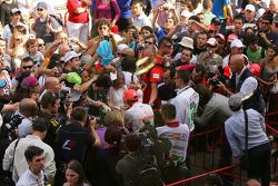 Lewis Hamilton, McLaren Mercedes signing autographs for the fans