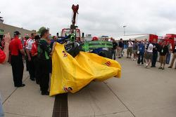Scott Sharp, Panther Racing's damaged car returns to the garage area