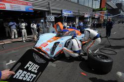 Pit stop for #009 Aston Martin Racing Lola Aston Martin: Harold Primat, Miguel Ramos, Darren Turner