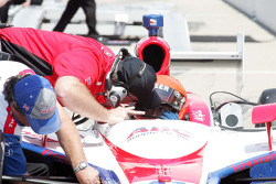 A.J. Foyt IV, A.J. Foyt Enterprises recieves instructions from Brian Barnhart, Competition Director of the Indy Racing League