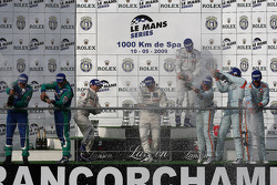 LMP1 podium: class and overall winners Nicolas Minassian, Christian Klien and Simon Pagenaud, second place Jean-Christophe Boullion and Christophe Tinseau, third place Jan Charouz, Tomas Enge and Stefan Mücke