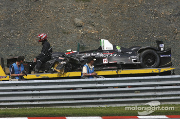 The remnants of #17 Pescarolo Sport Pescarolo - Judd: Bruce Jouanny, Joao Barbosa;after Bruce's heavy crash uin the Eau Rouge up-hill