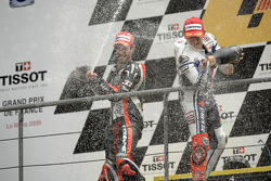 Podium: race winner Jorge Lorenzo, Fiat Yamaha Team, second place Marco Melandri, Hayate Racing Team