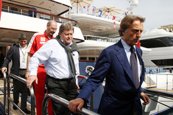 Luca di Montezemolo, Scuderia Ferrari, FIAT Chairman and President of Ferrari, Norbert Haug, Mercedes, Motorsport chief leave the FOTA meeting on the boat of Flavio Briatore, Renault F1 Team, Team Chief, Managing Director