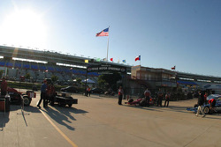 The sun sets at Texas Motor Speedway before practice begins for the IRL Bombardier Learjet 550K