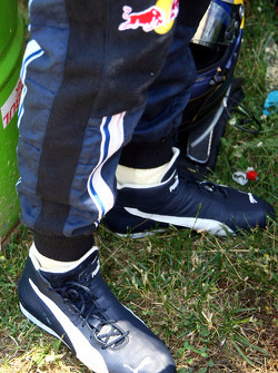 shoes of Sebastian Vettel, Red Bull Racing with the Christopherus coins in